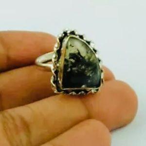 Prehnite Gemstone Sterling Silver Ring